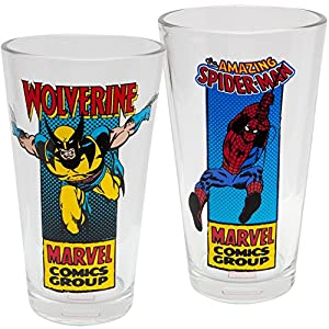 Marvel Comics Classic Characters Wolverine and Spider-Man Two Pint Glass Set