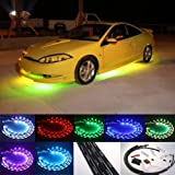 """Fuloon 7 Color LED Under Car Glow Underbody System Neon Lights Kit 48"""" x 2 & 36"""" x 2"""