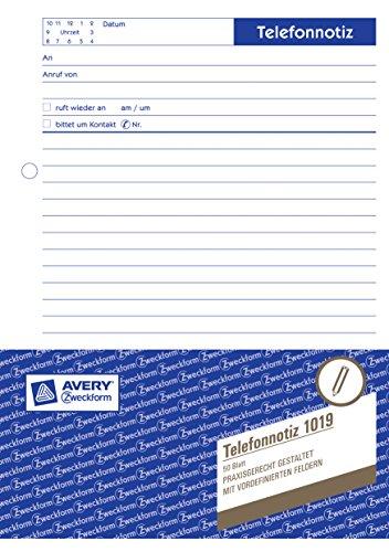 Avery Zweckform 1019 Telefonnotiz (A5, vorgelocht, 50 Blatt) weiß