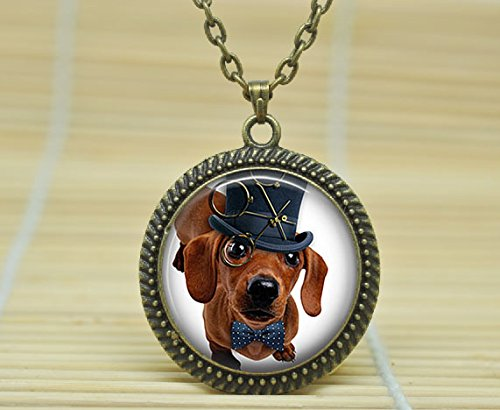 SunShine-Day-Fashion-Necklace-Steampunk-Dachshund-Necklace-Dog-In-Top-Hat-Dog-Jewelry-Handcrafted-Pendant-Necklace-Glass-Cabochon-Necklace-A1890