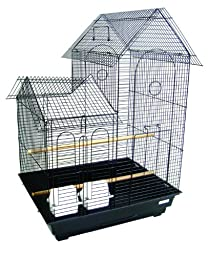 YML 20-Inch by 16-Inch Small Villa Top Bird Cage, Black