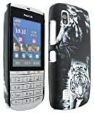 MobileExplosion Black Tiger Design Hard Shell Back Protection Case Cover Cover Clip On Protection For - Nokia Asha 300