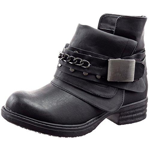 Sopily - Scarpe da Moda Stivaletti - Scarponcini Cavalier Biker alla caviglia donna Catena fibbia Tacco a blocco 3 CM - soletta sintetico - foderato di pelliccia - Nero FRF-3309-2 T 39 - UK 6