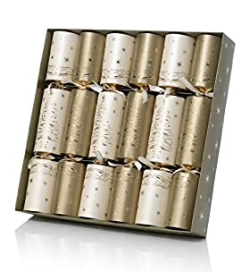 6 Gold & Cream Tree Luxury Christmas Crackers
