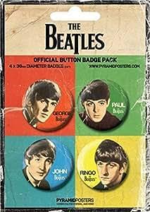 THE BEATLES - JOHN, PAUL, GEORGE & RINGO - BADGE PACK - PACK OF 4 X 38MM BADGES - BRAND NEW