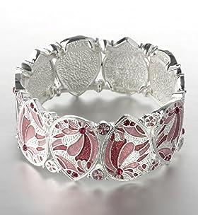 Silver Plated Art Nouveau Stretch Bracelet