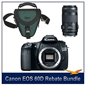 Canon EOS 60D 18 Megapixel SLR Digital Camera w/ $200 Instant Rebate Bundle. Includes Canon's EF 70-300mm F/4-5.6 IS USM Lens w/ Canon USA Warranty Included & Deluxe SLR Holster Case. Save Up To 500.00 w/ Canon Printer Rebate.