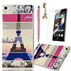 P6 Case Huawei Ascend P6 Case MOLLYCOOCLE Fashion Style Transparent Painted PC Phone Back Cover with Stripe Eiffel Tower Pattern for Huawei P6+1x Stylus Pen+1x Dust Plug+1x Screen Protector