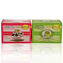 GTEE Green Tea Bags-Jasmine & Moringa Tea Bags ( 25 Tea bags X 2PACKS)