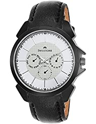 Swisstone SW-GR026-WHT-BLK White Dial Black Leather Strap Analog Wrist Watch For Men/Boys