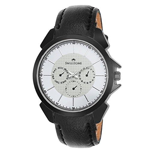 Swisstone SW-GR026-WHT-BLK White Dial Black Leather Strap Analog Wrist Watch For Men/Boys