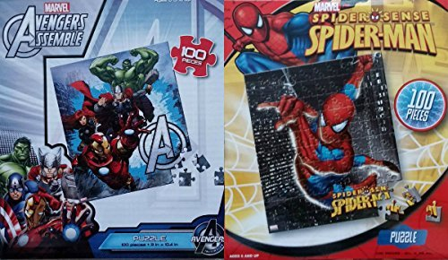 Lot of 2: Spiderman & Avengers Assemble Puzzle Pack! 100 pieces each!
