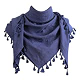Explore Land 100% Cotton Premium Solid Color Scarf Wrap 47 x 47 inch (Blue Indigo)