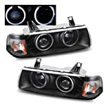 SPPC 1 Pc Projector Headlights G2 Halo Black For BMW 3 Series E36 4 Door - (Pair)