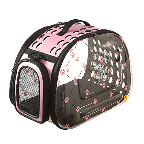 PINMEI PETS Fashion Design Dog & Cat Carrier Travel Bag Airline Approved, Foldable Breathable Visible (Pink)