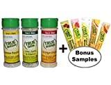 True Lemon Pepper Seasoning, True Lime Garlic & Cilantro Seasoning, True Orange Ginger Seasoning. PLUS BONUS 5 FREE Sample Lemonade Sticks. Natural Ingredients, No Salt, Gluten Free.