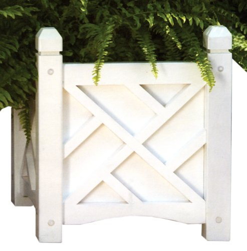DMC Products Chippendale 14-Inch Square Solid Wood Planter, White