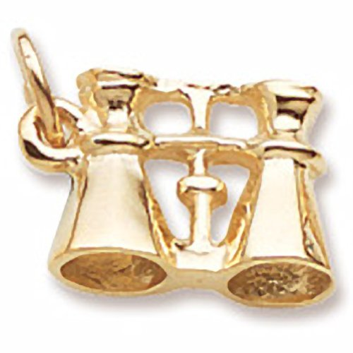 10K Yellow Gold Binoculars Charm, Charms For Bracelets And Necklaces