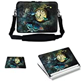 Meffort Inc 15 15.6 inch Laptop Carrying Sleeve Bag Case with Hidden Handle & Adjustable Shoulder Strap with Matching Skin Sticker and Mouse Pad Combo - Clock Butteries