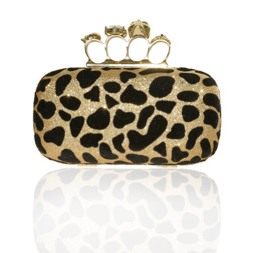Heyjewels Fashion Leopard Clutch Bag Purse Evening Prom Party Skull Handbag Golden