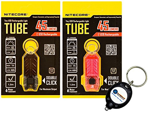 Black & Pink Nitecore Tube Tiny Usb Rechargeable Led Light 45 Lumens T-Series Waterproof Combo With 1X Lightjunction Keychain Light - Free Shipping