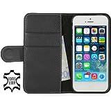 """Stilgut Ledertasche """"Talis"""" Book Type Case V2 für Apple iPhone 5 & iPhone 5s aus echtem Leder mit Fach für Kredit- oder Visitenkarten (schwarz)"""