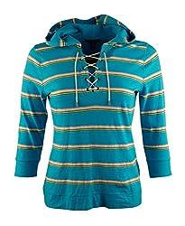 Lauren Ralph Lauren Women's Striped Hood Shirt [M] [Turquoise]