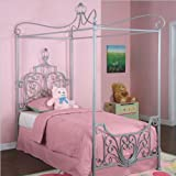 Powell Princess Rebecca Sparkle Silver Canopy Bed, Twin