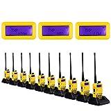 10-Pack NKTECH UV-5R Plus VHF UHF Tri-Power Hi/Mid/Low 8W 4W 1W Dual Band 136-174/400-520MHz Two Way Radio Ham Transceiver Walkie Talkie Li-ion Batteries Charger Yellow + 2X Speaker Mic