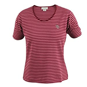 Oklahoma Sooners Ladies Crimson Striped Cutter and Buck Courtyard Top by Cutter & Buck