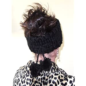 Trendy Black Chunky Knit Headband with Tassles
