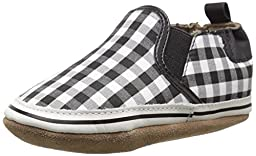 Robeez Liam Soft Sole Crib Shoe (Infant), Black/White, 6-12 Months M US