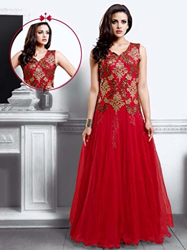 UFS Women s Red Soft Net Semi Stitched Anarkali Dress Salwar Suit Gown  Price in India  bb8268a21
