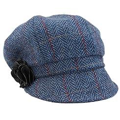 Newsboy Cap Blue Tweed Herringbone 100% Wool