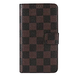 Samsung Galaxy Note 4 Wallet Case, [Grid Pattern] Premium PU Leather Flip Cover [Kickstand Feature] for Samsung Galaxy Note 4, [Brown/Black]