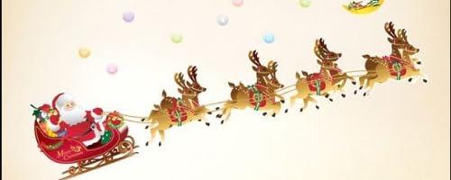 ウォールステッカー クリスマス サンタクロースとトナカイのソリ