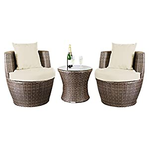 Stacking Brown Outdoor Rattan Garden 2 Seat Egg Set by Wovenhill