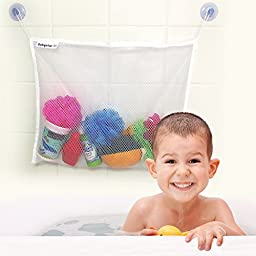Bath Toy Organizer For Baby Girls and Boys with 2 EXTRA Strong Suction Cups and a PAIR of Squeaky Toys from babyolas Offers Storage Basket With Firm Grip To Tiles and Glass Surfaces-Manufactured with Washable and Mould Resistant Material.Boost Your Baby\'s