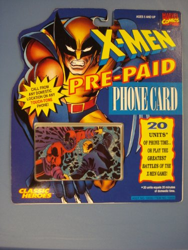 X-Men Pre-Paid 20 Unit Phone Card Professor X vs. Magneto 1994 Classic Heroes