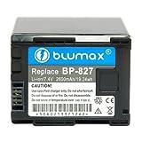 Blumax 7.4 V/2400 mAh Li-Ion Battery for Canon BP-827 fits HF10/HF100/HF11/HG20/HG21/Legeria HF S20/HF S200/HF S21/iVis HF20/HF S11