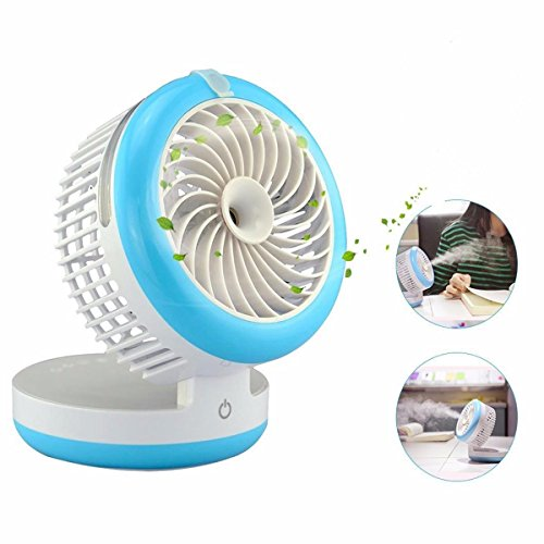 KING DO WAY 4 Mode Table Fans Portable Desktop Rechargeable USB Mini Desk Fans - Misting Cooling Spray Fan - Humidifier Blue (Usb Mini Portable Fan compare prices)