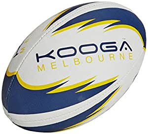 Kooga Melbourne Rugby Ball - White/Navy/Yellow, Size 4
