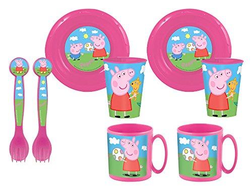 Peppa Pig Duplo-Set di 2 piatti, bicchieri e 2 ciotoline 2 e 2 tazze