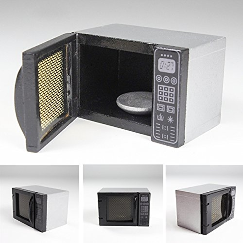 1:12 Wooden Microwave Oven Silver & Black Kitchenware Kitchen Miniature Doll Toy