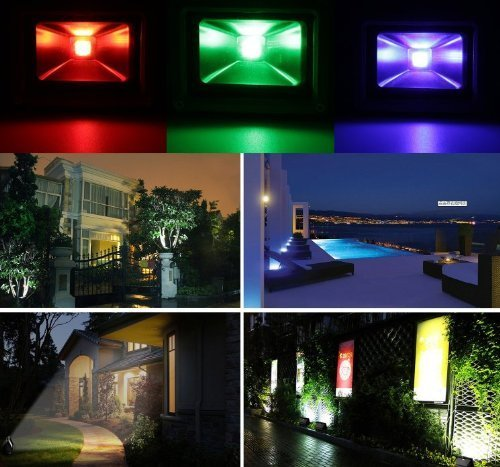 Ac85V-265V Ac 120 Degree Beam Angle 10W 20W 30W 50W Rgb 16 Color Changing Led Lamp Landscape Waterproof Outdoor Light Security Led Flood Light Spotlight High Powered With Aaa High Quality Chip 900Lm With Remote Control & 1 Meter Us Power Plug (50W)