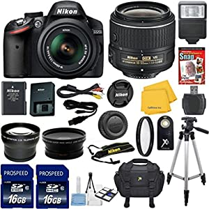 Nikon D3200 Black DSLR Camera Body with Nikon 18-55mm VR Standard Zoom Lens Celltime Exclusive Bundle with High Definition U.V. Filter + Wide Angle and Telephoto Auxiliary Lenses + Deluxe Camera Case + 2pcs 16GB Class 10 Memory Cards + 16pc Accessory Kit