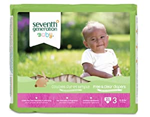 Seventh Generation Free and Clear, Unbleached Baby Diapers, Size 3, 155 Count