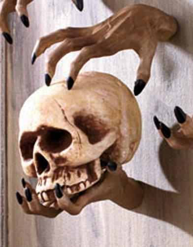 [Creepy Hands Black Fingernails Clawing Grabbing Wall Hangers Halloween Haunted House Prop Decor (2 pc 1 clawing 1 grabbing] (Black Spider Animated Prop)