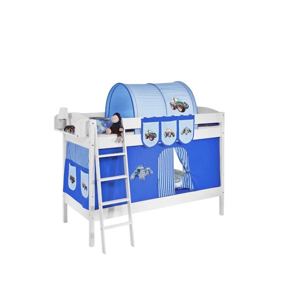 Kinderetagenbett im Traktor Design Blau Weiß Pharao24