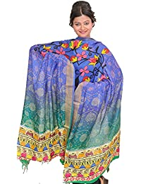 Exotic India Blue And Green Shaded Dupatta From Banaras With Digital-Prin - Blue